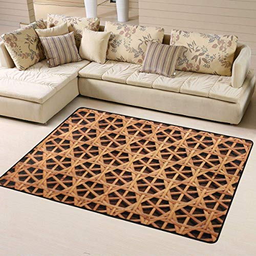 shenguang Wicker Woven Grid Non-Slip Area Rugs 63 X 48 Inch, Modern Carpet for Home Dining Room Playroom Living Room Large Floor Mat