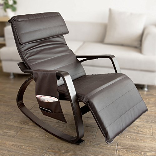 Haotian New Relax Rocking Chair Lounge Chair with Adjustable Footrest and Removable Side Bag, FST20-BR