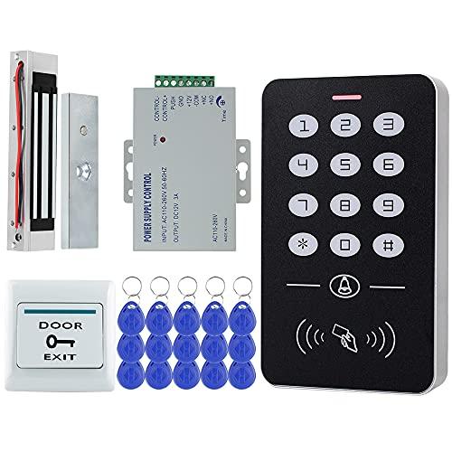 KUMU Sistema de Control de Acceso de Teclado RFID + 180kg Bloqueo Magnético + Fuente de Alimentación + Cerradura Eléctrica + Llaves de 15pcs