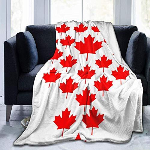 AEMAPE Manta de Tiro Hoja de Arce roja Canadiense Piel sintética Suave Franela cálida Manta para Cama sofá Silla Manta de Cama Ligera, Todas Las Estaciones