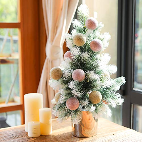 PARTY JOY 23' Artificial Mini Christmas Tree Small Pine Tree Tiny Christmas Tree Tabletop Includes Pots Christmas Ball for Holiday Crafts (White-Pink Champagne Gold)
