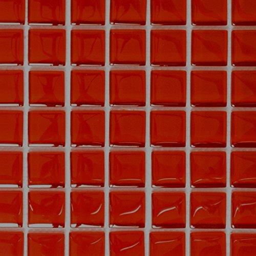 Mosaik Fliese Transluzent rot Glasmosaik Crystal rot für WAND BAD WC DUSCHE KÜCHE FLIESENSPIEGEL THEKENVERKLEIDUNG BADEWANNENVERKLEIDUNG Mosaikmatte Mosaikplatte