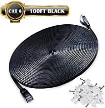 Ethernet Cable Cat6 Network Cable 100 ft - Flat Ethernet Patch Cable with Snagless Rj45 Connector - Compatible with Cat5e Cat5 Computer LAN Wire for PS4,Xbox one,Switch,Modem,Router (Black 100FT)