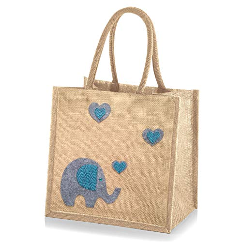 Jute Hessian Medium Shopping Bag - 30 x 30 x 20 cm Elephant Natural