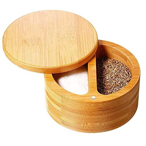 XINDUI Caja de bambú para Sal y Pimienta, salero con 2 Compartimentos de Almacenamiento, Tapa giratoria con imán para Mantener seco