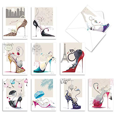The Best Card Company - 10 All Occasion Blank Note Cards for Women (4 x 5.12 Inch) - Fashion Greeting Cards Boxed - Catitude Shoes M3324
