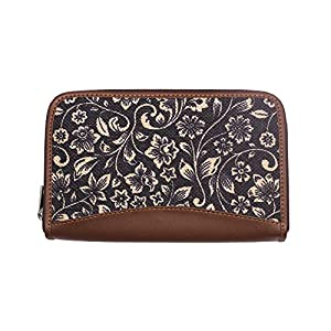ZOUK Women's Flomotif Print Handmade Vegan Leather Wallets and Jute Purse for Ladies - Clutch with Indian Print - Wallets for Mobile Phones (Multicolour)