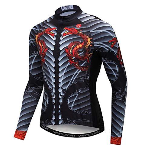 Maillot De Ciclismo Para Hombre,Logotipo De Dragón Doble Único Ciclismo De Montaña...