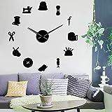RRBOI Schneiderei DIY Wall Clock Schneiderin Needlecraft Näherin Schaufensterpuppe Nähmaschine Nadelstange Uhr Wanduhr 27 Zoll (schwarz)