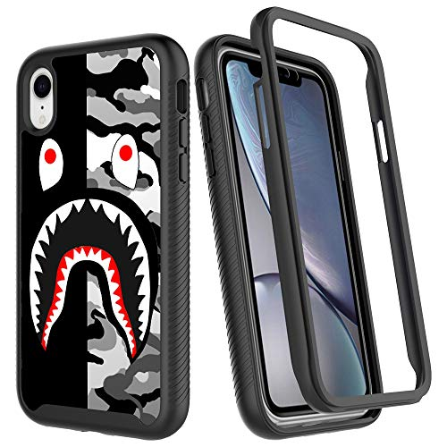 iPhone XR Case, Street Fashion Design iPhone XR Cases for Boys Girls Dual Layer Shockproof Rugged Cover Soft TPU + Hard PC Bumper Full-Body Cool Camo Case for iPhone XR (6.1 inch) - Black Gray Shark
