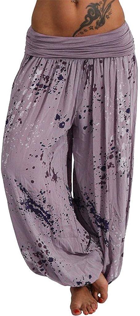 LEIYAN Womens Casual Palazzo Harem Pants Elastic Waist Bohemian Hippie Pajama Lounge Elephant Aladdin Trousers