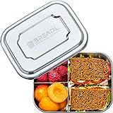 BREADL® Edelstahl Brotdose, Spülmaschinenfest, Plastikfrei, 17x13x6cm, 1000ml, BPA-frei, Trennwand und 3 Fächer, Lunchbox & Bento-Box für Kinder & Erwachsene
