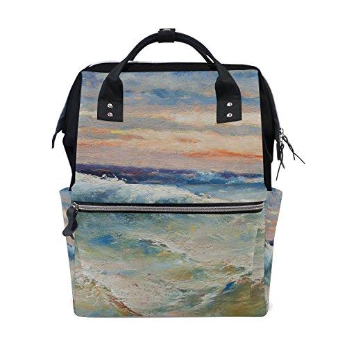 COOSUN olieverfschilderij zee golven luierzak luier rugzak met geïsoleerde zakken wandelwagen banden, grote capaciteit multifunctionele stijlvolle luiertas voor mama pa outdoor