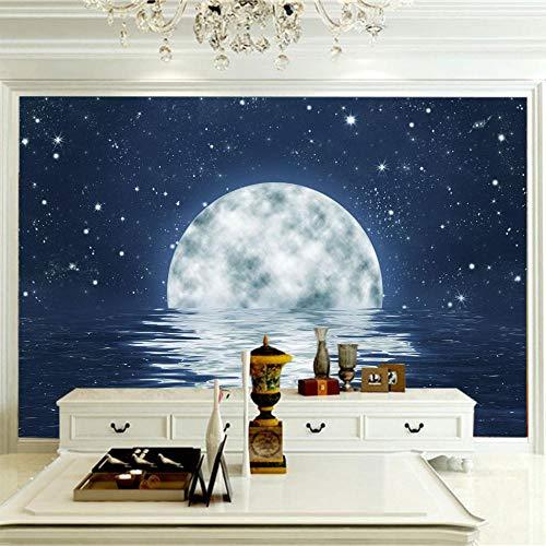 Fotomural Vinilo Pared Luna Blanca Cielo Estrellado Azul 300x210cm/118x82.5in(Wxh) Mural Papel Tapiz Pared Moderno Murales Wallpaper Foto Mural Pared Salón Fotomurales Decorativos Pared Papel