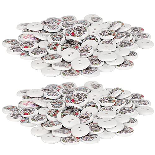 Botones de calavera, accesorios de costura de mano de obra fina, 200 piezas de botones de madera para manualidades, confección de ropa, costura