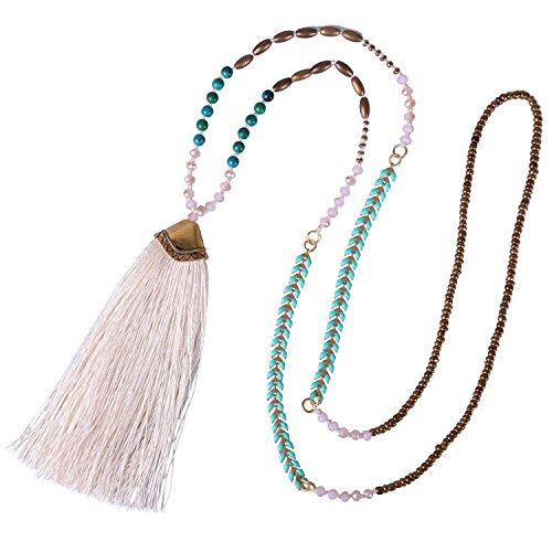 KELITCH Collares Con Cuentas De Turquesa Collares Con Colgante De Borla Larga Multicolor Joyería De Moda 2021 (Blanco 1)
