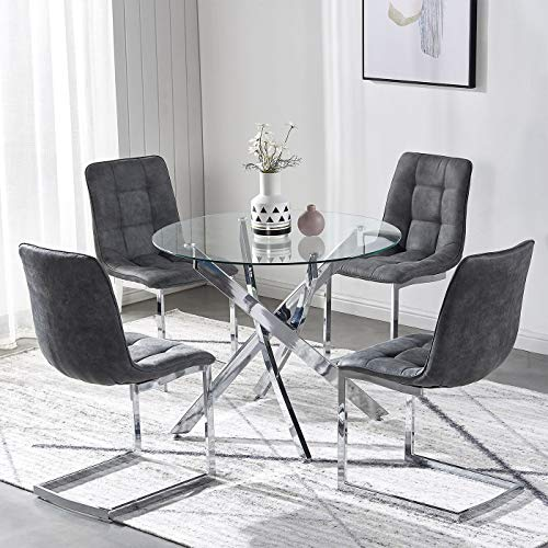 TONVISION Clear Glass Dining Table with 4 Chairs Sturdy Metal Legs Suede Upholstered Cushion 90cm Diameter Round Top 4-Seater Small Kitchen Dinner Living Coffee Room, Charcoal Grey Chrome Base
