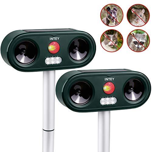 INTEY Ahuyentador de Animales (2 Piezas) Ultrasonido Impermeable Ahuyentador del Gato Energía Solar Carga de la Batería, Utilizada en el Jardín Ahuyentador Gatos Repelente ultrasonico