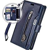 Hnzxy Kompatibel mit Huawei Mate 9 Hülle,PU Leder Tasche Flip Hülle Cover Handyhülle Reißverschluss Geldbörse mit 9 Kartenfächer Lederhülle Magnet Handy Schutzhülle Klapphülle,Blau
