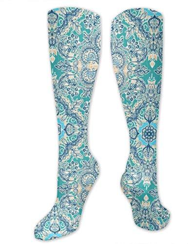 zhouyongz Calcetines de compresión florales en color crema y azul para hombres y mujeres, mejor graduados atléticos y médicos para hombres y mujeres, correr, vuelo, viajes