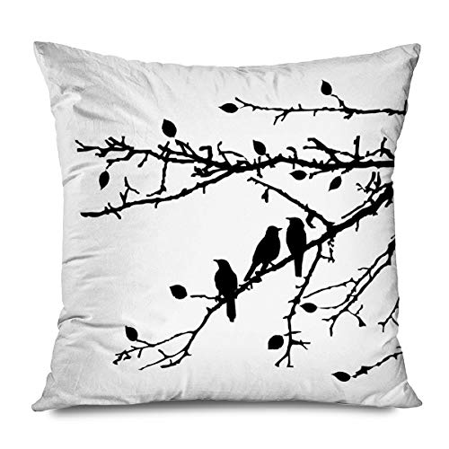 CHARLLR Throw Pillow Cover 18x18 Inch Birds Cute Bird Tree Branches Black Silhouette Solid White Vector Silhouettes Sitting On The Decorative Pillowcase for Sofa Couch Bedroom Living Room