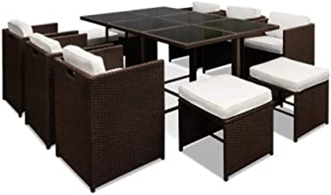 Gardeon 11pcs Outdoor Dining Furniture Set Rattan Wicker Chair and Table-Brown
