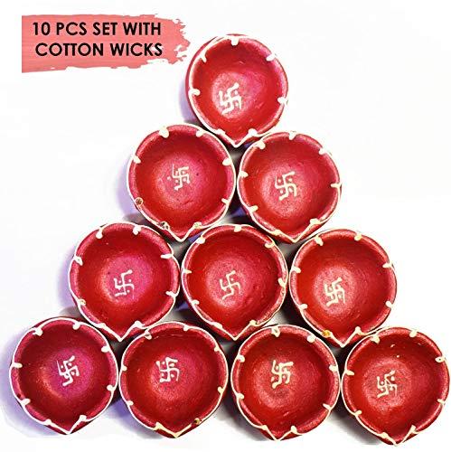 Diwali Diwali Diya. Juego de 10 lámparas de aceite de tierra natural hechas a mano con mechas de algodón Batti.