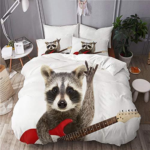 Mokale Bettwäsche-Set,Porträt lustige Waschbär E-Gitarre zeigt,Dekoratives 3-teiliges Bettwäscheset mit 2 Kissenbezügen,King Size(200 x 200cm)