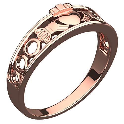 GWG Jewellery Anelli Donna Regalo Anello Placcato Oro Rosa 18K Fascia Claddagh - 7 per Donne