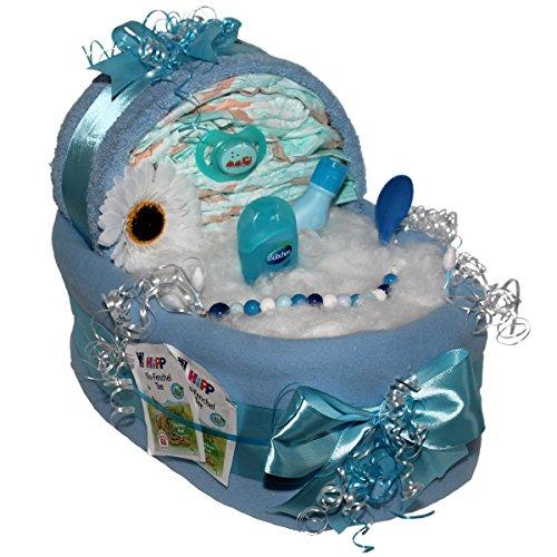 Großes Windelbettchen Süße Träume 50tlg. für Jungen Geschenk zur Taufe Geburt für Jungen Windeltorte