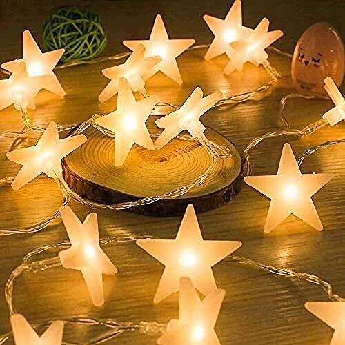 Guirnalda de luces de estrella 30 LED con pilas 4 5 m para fiestas, jardín, Navidad, Halloween, vacaciones, decoración interior y exterior, color blanco cálido