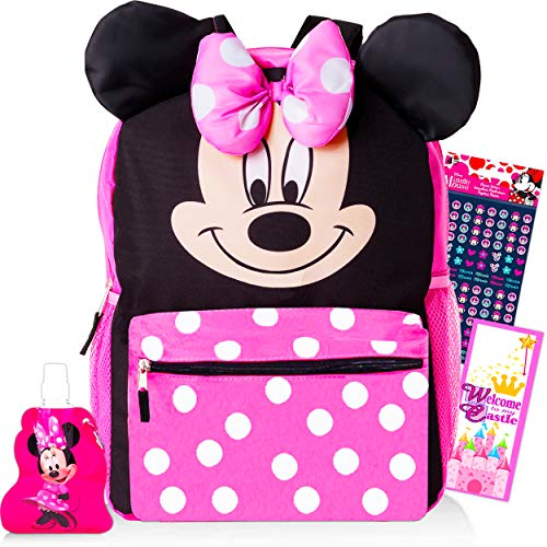 Minnie Mouse Backpack and Water Bottle for Kids Toddlers ~ Premium 14' Minnie School Bag with 3D Ears and Puffy Bow, Minnie Mouse Water Bottle, Stickers, and More (Minnie Mouse School Supplies Bundle)
