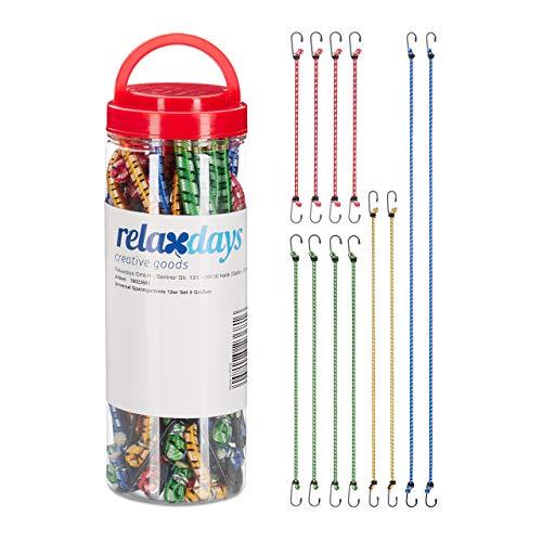 Relaxdays, Mehrfarbig Spanngummi 12er Set, Gepäckspanner für Auto und Fahrrad, Universal Expander, 35cm bis 1m, 4 Größen
