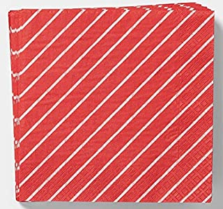 Red and White Paper Napkins for Valentines Day, Christmas or Party Celebrations. 2-Play. 20 Count. Square. Diagonal Stripe