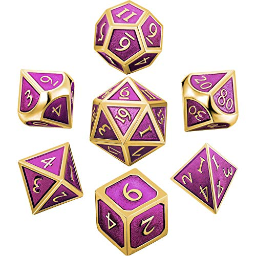 Hestya 7 Pieces Metal Dices Set DND Game Polyhedral Solid Metal D&D Dice Set with Storage Bag and Zinc Alloy with Enamel for Role Playing Game Dungeons and Dragons, Math Teaching (Gold Edge Purple)