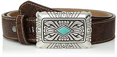 Ariat Women's Scroll Embossed Silver Turquoise Buckle Belt, brown, Medium