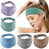 BESTZY 5pcs Bandeau Cheveux Femme Elastique Bande de Cheveux Large Headband Bandeau de Sport Yoga 5 Couleurs Turban Accessoire Cheveux