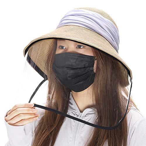 Comhats - Sombreros de sol con visera ancha UPF 50 para mujer, de verano, de paja, plegable, accesorios de playa Beige beige M