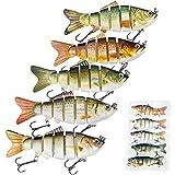 DOUBFIVSY 5 Señuelos de Pesca, 3.9' Multi Articulado Cebos de Pescar Artificiales, Swimbait Señuelos Articulados con Anzuelos, Señuelos Spinning para Calamar Lubina Río Mar