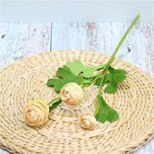 Artificial and Dried Flower Heads Silk Ranunculus Artificial Flowers Asiaticus Rose Fake Flowers Spring Wedding Decoration DIY for Home Party 1pc B2086 – ( Color: Champagne )