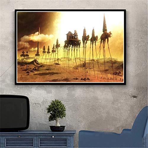 JHGJHK Salvador Dali surrealismo Arte Mural Pintura al óleo Cartel Retro Pintura al óleo Utilizada para la decoración del hogar de la Sala de Estar (Imagen 16)