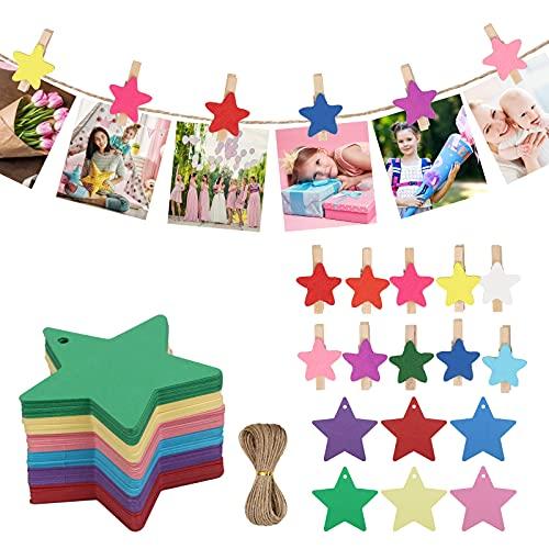 HAKOTOM 100pcs Etiqueta Estrella Coloridas Regalo Navidad Tarjeta Estrella Bodas Pinzas Madera 20m Cinta Cañamo para Regalos Navideños Cumpleaños Papel Pastel Fotos Tarjeta Agracimiento Felicitación