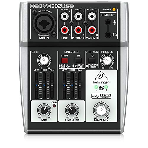 Behringer Xenyx 302USB Premium 5-Input Mixer with Mic Preamp and USB/Audio Interface,Black