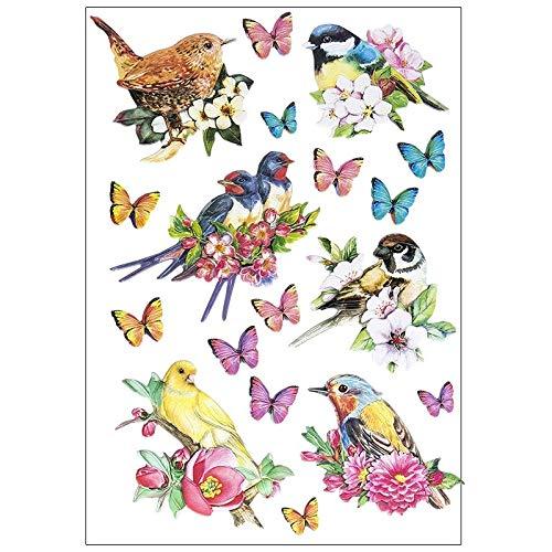 Stickerbogen 3-D Relief-Sticker   Hochwertig geprägt mit 3-D-Effekt   Din A4 Bogen mit verschiedenen Motiven (Vögel auf Zweigen)