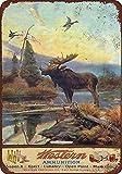 Cartel de chapa de metal Decoración Pintura de hierro Municiones occidentales y alces Vintage Farm vintage art deco