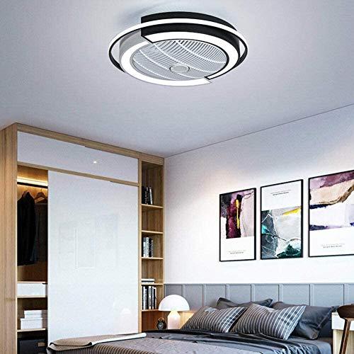 Ouuily Ventilador de Techo con Luz LED y Mando a Distancia 220V Lámpara de Techo Redonda con iluminación LED Regulable Luz de Ventilador para Habitación de los Niños, Salón, Dormitorio