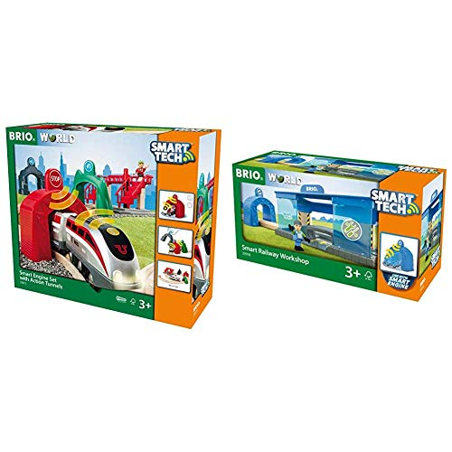 BRIO World - Smart Tech Engine Set with Action Tunnels | 17 Piece Train Toy with Accessories and Wooden Tracks for Kids Age 3 and Up & World - Smart Railway Workshop | 3 Piece Toy Train Accessory