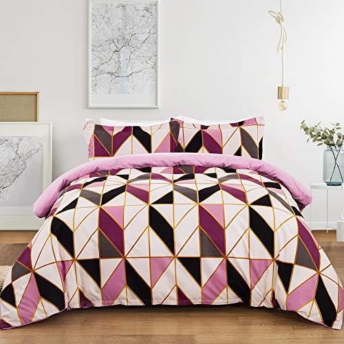Juego de cama de 3 piezas geométrico a rayas estampadas, funda de edredón de 1/2 personas con microfibra cómoda, juego de cama y fundas de almohada (rosa, doble: 200 x 200 cm)