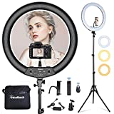 Inkeltech 21inch Ring Light with Tripod and Phone Holder, 3000K-6000K Dimmable Bi-Color LED Light Ring for Makeup, Selfie, Vlog, YouTube Video, Camera - Control with Remote
