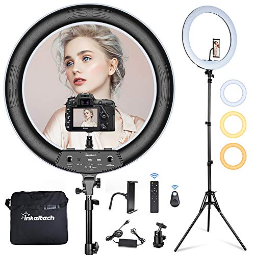 Inkeltech 21inch Ring Light with Tripod and Phone Holder, 3000K-6000K Dimmable Bi-Color LED Light...